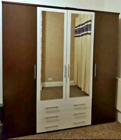 4 Door 3 Drawer Wardrobe Gloss Mirrored 2 - Tone Huge Brown & White