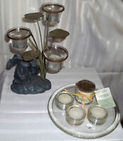 REDUCED PRICE --- MOVING ---Assorted Candle Holders with Candles