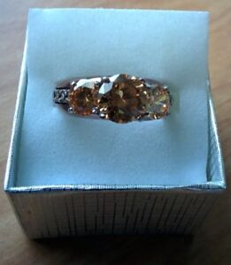 Champagne cubic zirconia ring