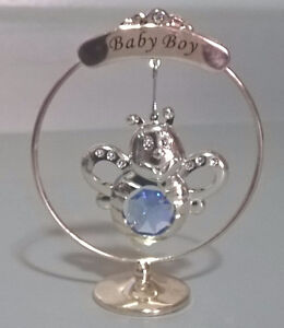 Baby Silver Plated & Swarovski Crystal Bee Ornament