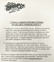 TWO Job Opportunities - Rec/Small Engine Tech & Retail Parts Adv