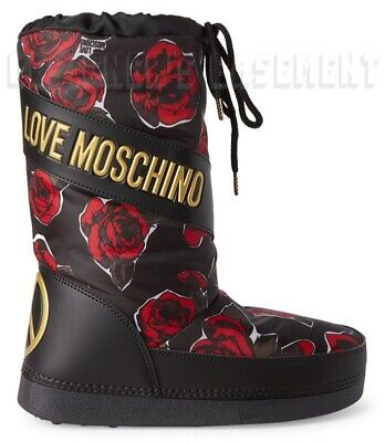 LOVE MOSCHINO black 37-38 red ROSES gold Logo PEACE Snow MOON Boots NIB Authentc