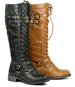 lace up buckle knee high combat boots