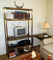 Two Quality Brass Glass End tables + tall shelf - matching set