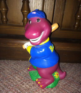 Vintage 1992 Barney the Purple Dinosaur 6 Inch Coin Bank Plastic