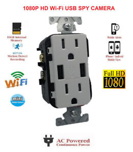 Hidden WIFI 1080P IP Spy Camera AC USB Working Wall Outlet!
