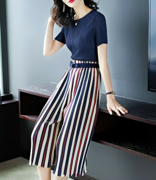 Blue Ruffled Top + Striped Culottes Pants