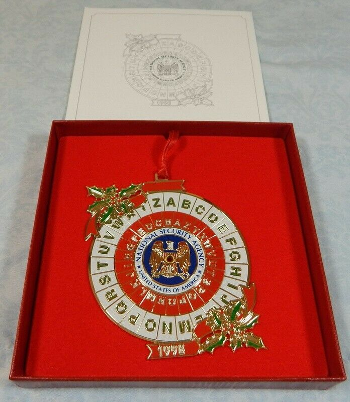 NSA National Security Agency 1998 Cipher Disc Christmas ornament