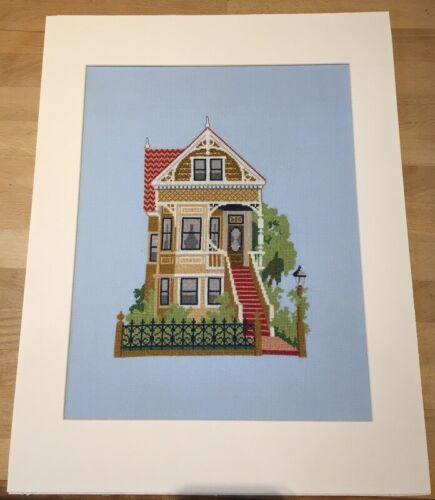 Victorian House Finished Cross Stitch 6.75in X 9.25in stitched area 18in X 14in