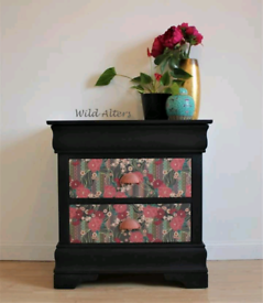 Upcycled bedside cabinet/chest of drawers