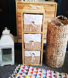 Rustic wooden cube storage with wicker baskets