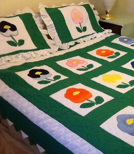 New QUEEN SIZED QUILT/SHAMS, HAND quilted & embroidered, flower