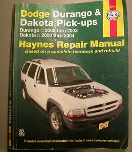 HAYNES REPAIR MANUAL DODGE DURANGO DAKOTA TRUCK 2000-2004
