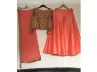 Party/wedding/occasional dress. Lengha dress peach/pink and gold