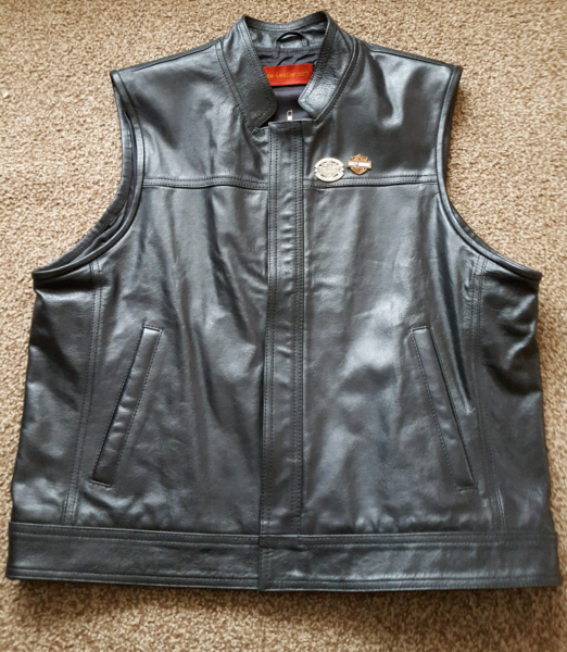 Real leather biker vest with HOG patch  for sale  Ammanford, Wales