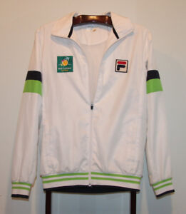 FILA BNP PARIBAS OPEN TENNIS JACKET WHITE SIZE ADULT SMALL