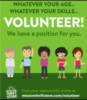 VOLUNTEER OPPORTUNITIES at the Mission Thrift Store, Kelowna