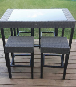 Hampton Bay Patio Table and 4 bar stools