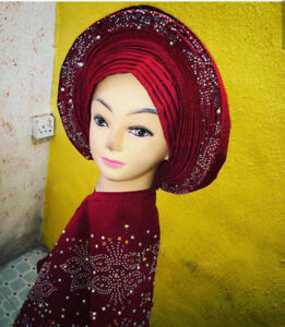 Auto Gele With Matching Shoulder Sash  For Sale