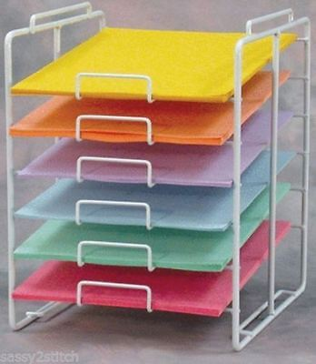 """For Sale 6 Slot 12"""" x 12"""" Scrapbook Paper Storage Counter Display Rack (White)"""