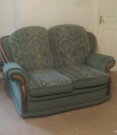 Green fabric 2 seater and single seater sofa