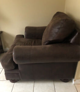 Leather sofa and chair for sale