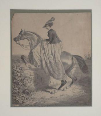 Reiterin - Bensler - Lithographie - Pferd springen Damensattel Sport - 1860