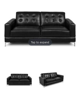Black Leather-Like Sofa