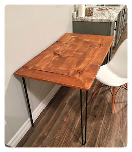 Barn board hairpin leg desk