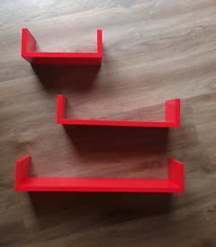 Trio of Gloss Red Shelves