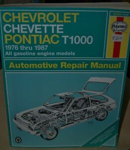 Chevrolet Chevette Pontiac T1000  1976 to 1987 Repair Manual