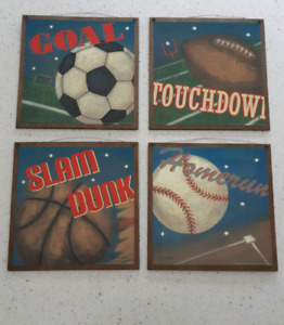 Set of 4 vintage look sports wall hangings