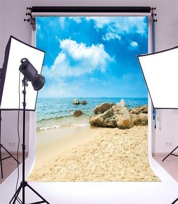Beach Themed Photo Backdrops (Sea Beach Studio Vinyl 5x7ft Photography Background Theme Photo Backdrop)