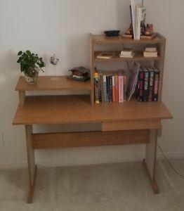 Computer / Office Desk W/ Shelves, Light Oak  & Solid White Vene