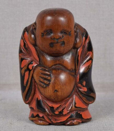 Early 19c Negoro netsuke HOTEI Buddha of the future