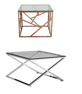 New stainless steel side end table - golden or chrome