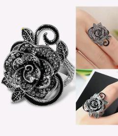 New handmade black rose ring
