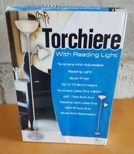"Torchiere Lamp With Reading Light - 70"" Tall"