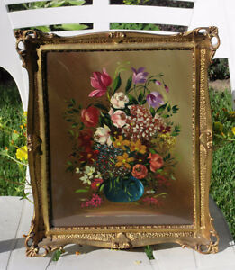 Vintage Oil Painting FLOWERS in BOUQUET Under Glass - ITALY
