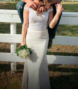 Mermaid Beige Bridesmaid Dress with train