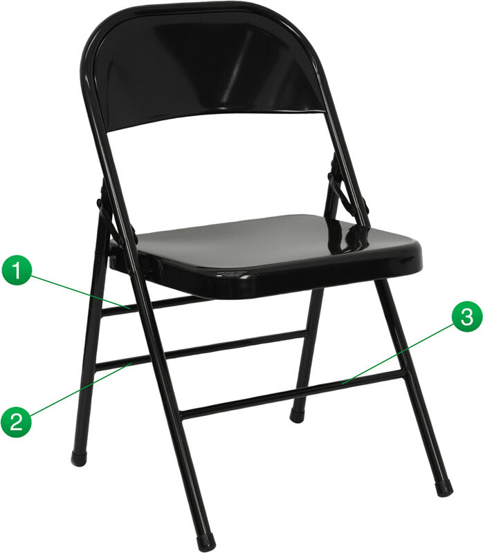 Lot Of 100 Heavy Duty Black Metal Folding Chairs