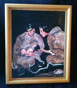 Albert ROUSSEAU RCA Canadian Quebec artist, INUIT Family & child