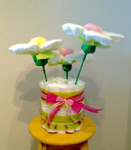 Baby Shower Diaper Cake with Diaper Flowers
