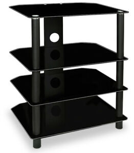 TV Media Stand, Glass Shelves, Audio Video Component, 88 Lb Load