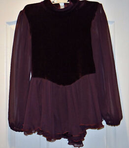 Burgundy Velour and Chiffon Skating Dress