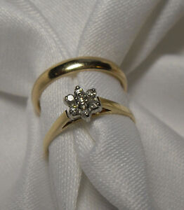 """10kt  Diamond """"Cluster"""" Engagement Ring for a Princess - Size 5"""