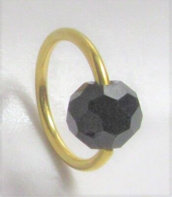 14k Gold Plated Black Faceted Stone Seamless Hoop Ring Earring 16G  14k Gold Plated Labret