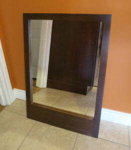 Rectangular brown wooden mirror for sale