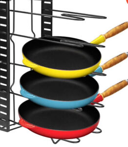 lid and pan storage organizer rack holder, 5 tiler, adjustable