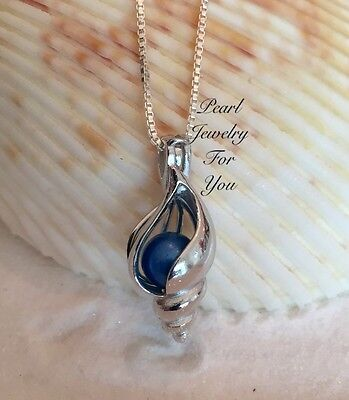 Conch Seashell Pearl Cage 925 Sterling Silver Pendant Necklace Wish Akoya Oyster